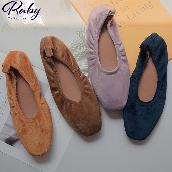 鞋子 RCha。絨毛摺疊芭蕾平底鞋-Ruby s 露比午茶