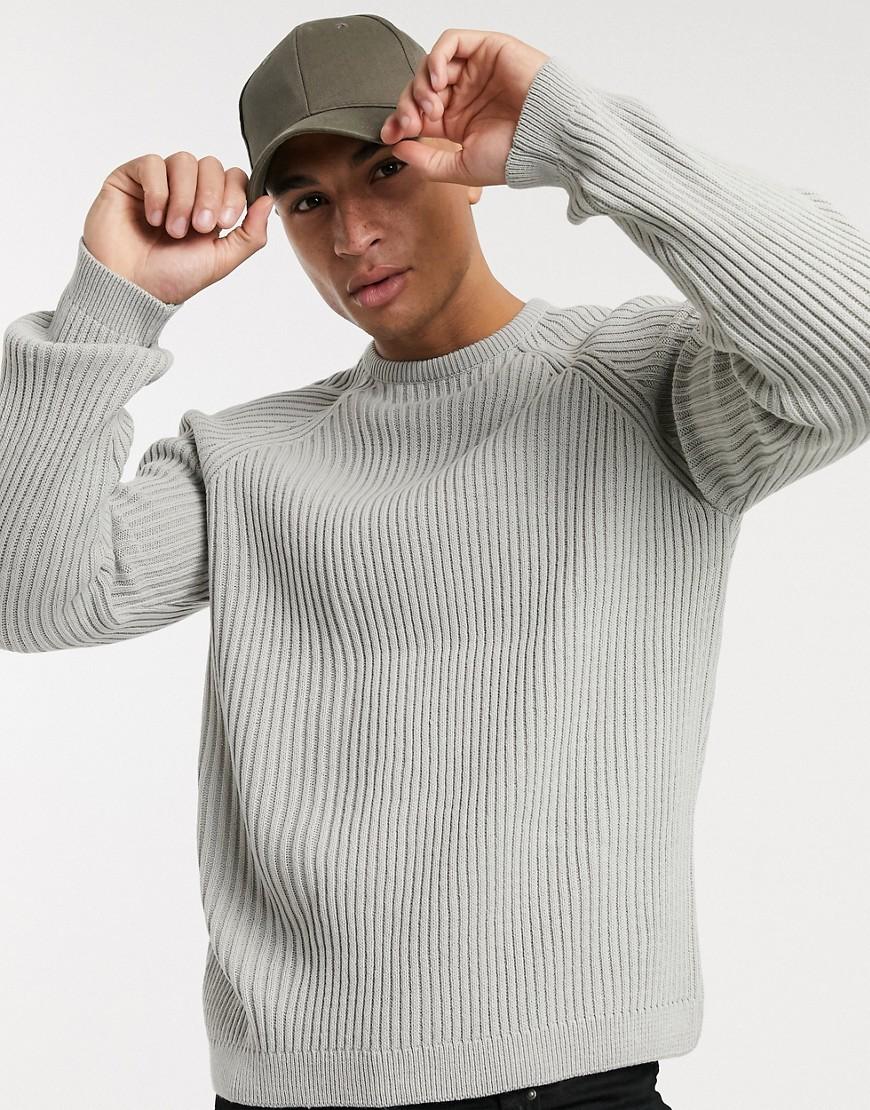 ASOS DESIGN knitted rib raglan jumper in grey