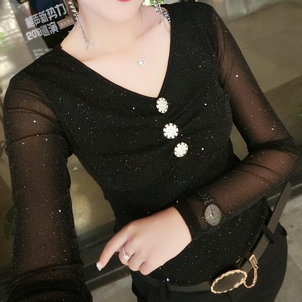 歐洲站2020年秋冬新款黑色長袖t恤上衣洋氣打底衫女性感網紗小衫