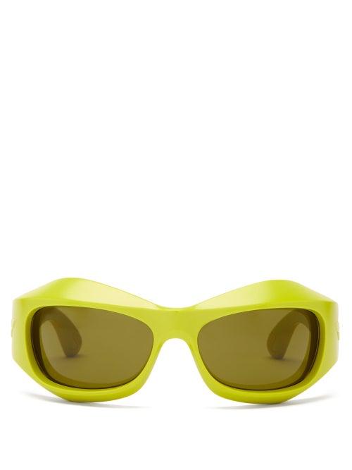 Bottega Veneta - Mask Acetate Sunglasses - Womens - Green