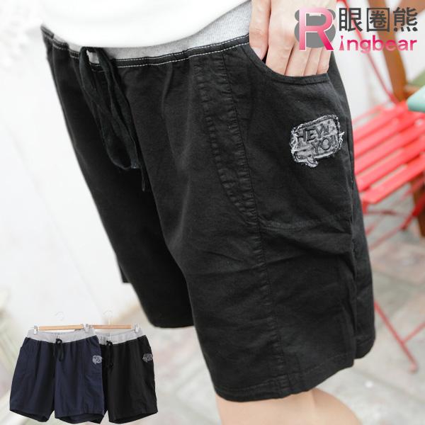 短褲--休閒可愛貼布米奇點點口袋配色抽繩短褲(黑.藍M-XL)-R93眼圈熊中大尺碼