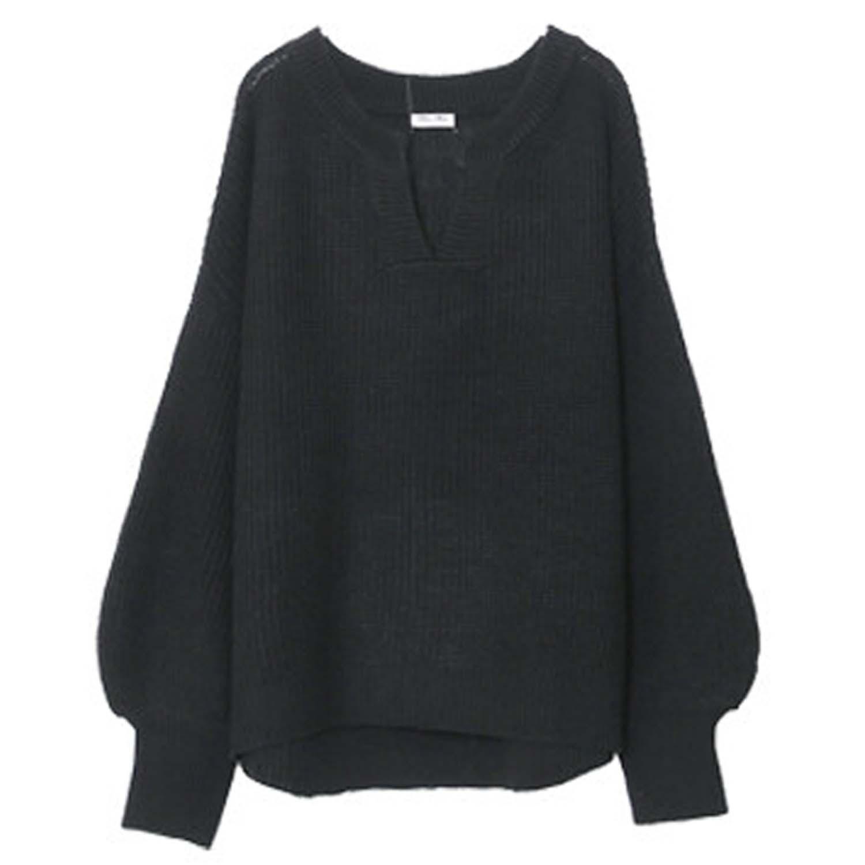 日本女裝代購 - 優雅小V領寬鬆針織上衣-黑 (M(Free size))