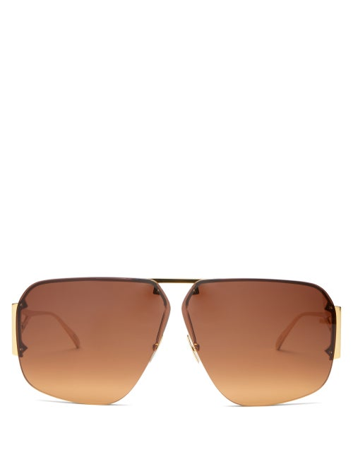 Bottega Veneta - Triangle-temple Aviator Metal Sunglasses - Womens - Gold