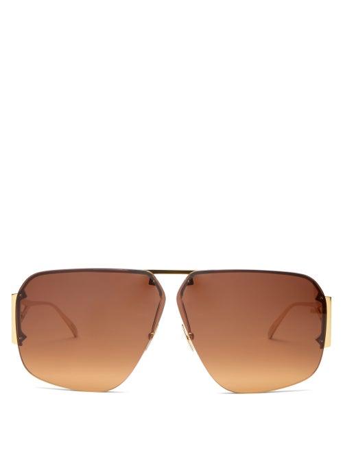 Bottega Veneta - Triangle-temple Aviator Metal Sunglasses - Womens - Gold