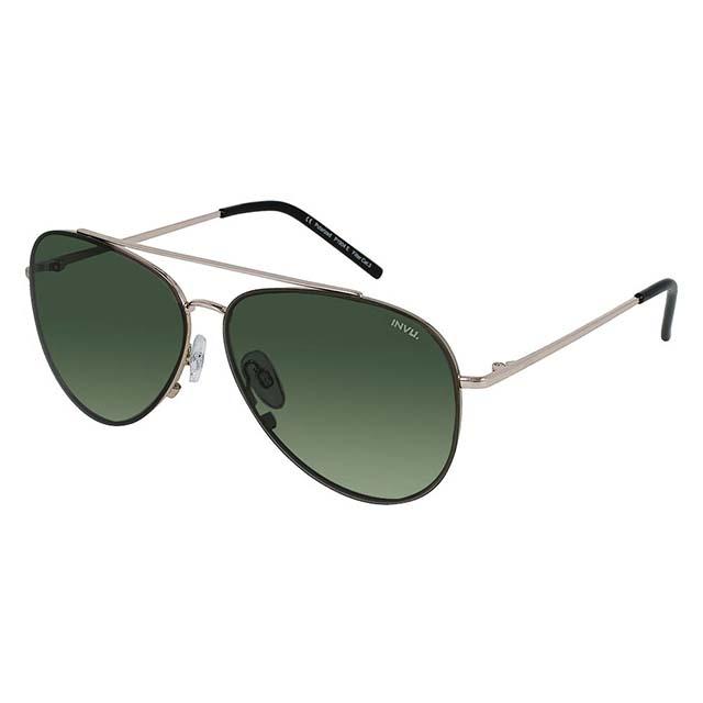 【INVU】瑞士率性飛行員框偏光太陽眼鏡(銀/綠 P1904E)