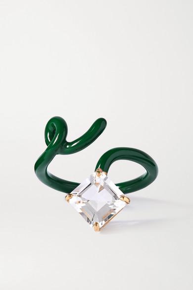 Bea Bongiasca - Baby Vine Tendril 9k 黄金、纯银、搪瓷和水晶戒指 - 绿色 - 14