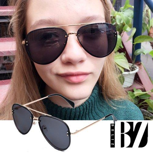 【BeLiz】極簡魅黑*線型金框雷朋反射墨鏡
