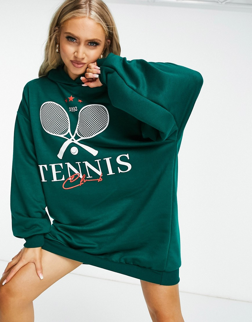 ASOS DESIGN mini hoodie sweat dress with white tennis logo in forest green