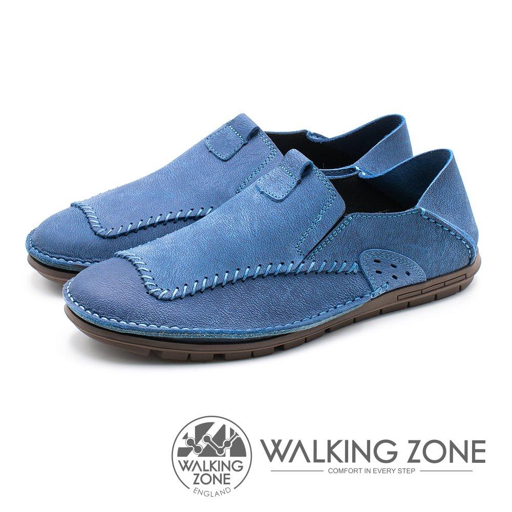 WALKING ZONE(男)素面時尚棒球車線踩腳鞋-藍(另有米/咖)