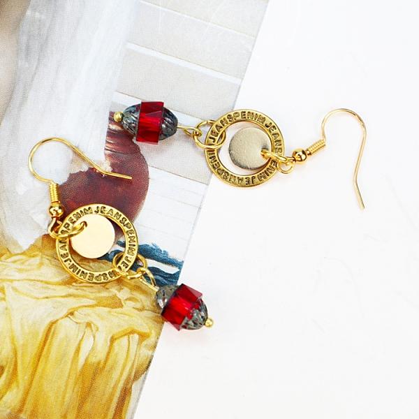 【粉紅堂 飾品】古董珠垂墜耳環*紫色 / 紅色*