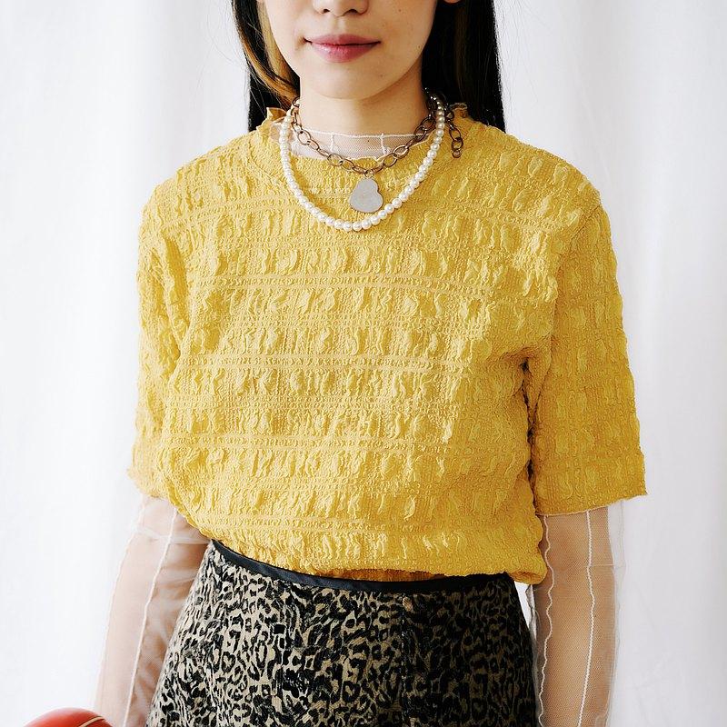 關西腔女子| 黃色泡泡短袖上衣