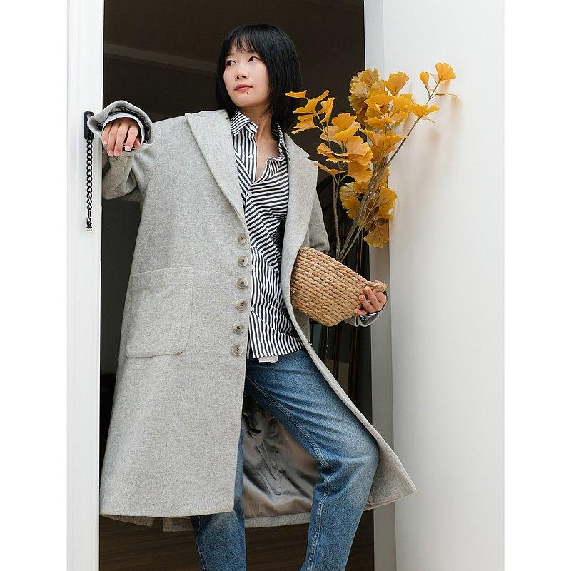 女士外套秋冬中長款寬松顯瘦西裝翻領淺花灰加厚羊毛呢簡約大衣