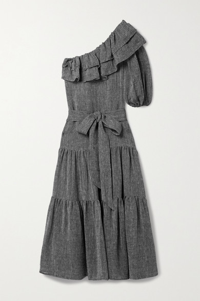 Lisa Marie Fernandez - Arden 单肩分层式有机亚麻混纺薄纱超长连衣裙 - 黑色 - 3