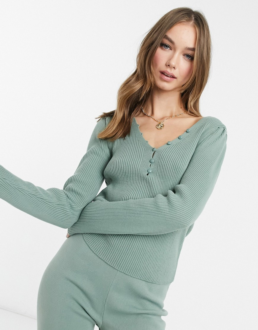 ASOS DESIGN co-ord long sleeve rib jumper with buttons in sage-Green