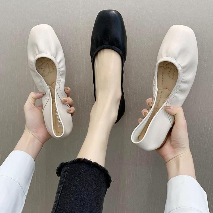 奶奶鞋2020春秋平底方頭樂福鞋兩穿一腳蹬懶人搭豆豆鞋淺口單鞋女 萬聖節