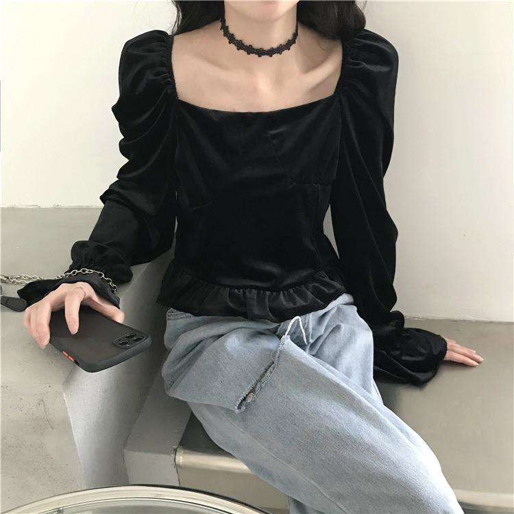 【免運】復古方領露鎖骨長袖絲絨襯衫黑色百搭法式上衣氣質chic短版女潮