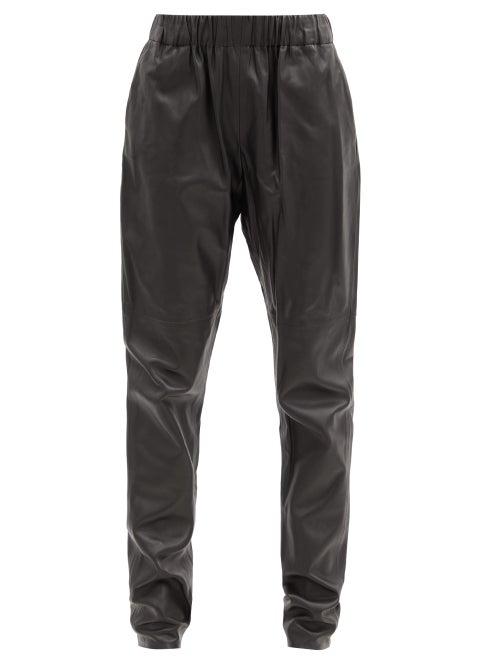 Dodo Bar Or - Kuku Elasticated-waist Leather Tapered Trousers - Womens - Black