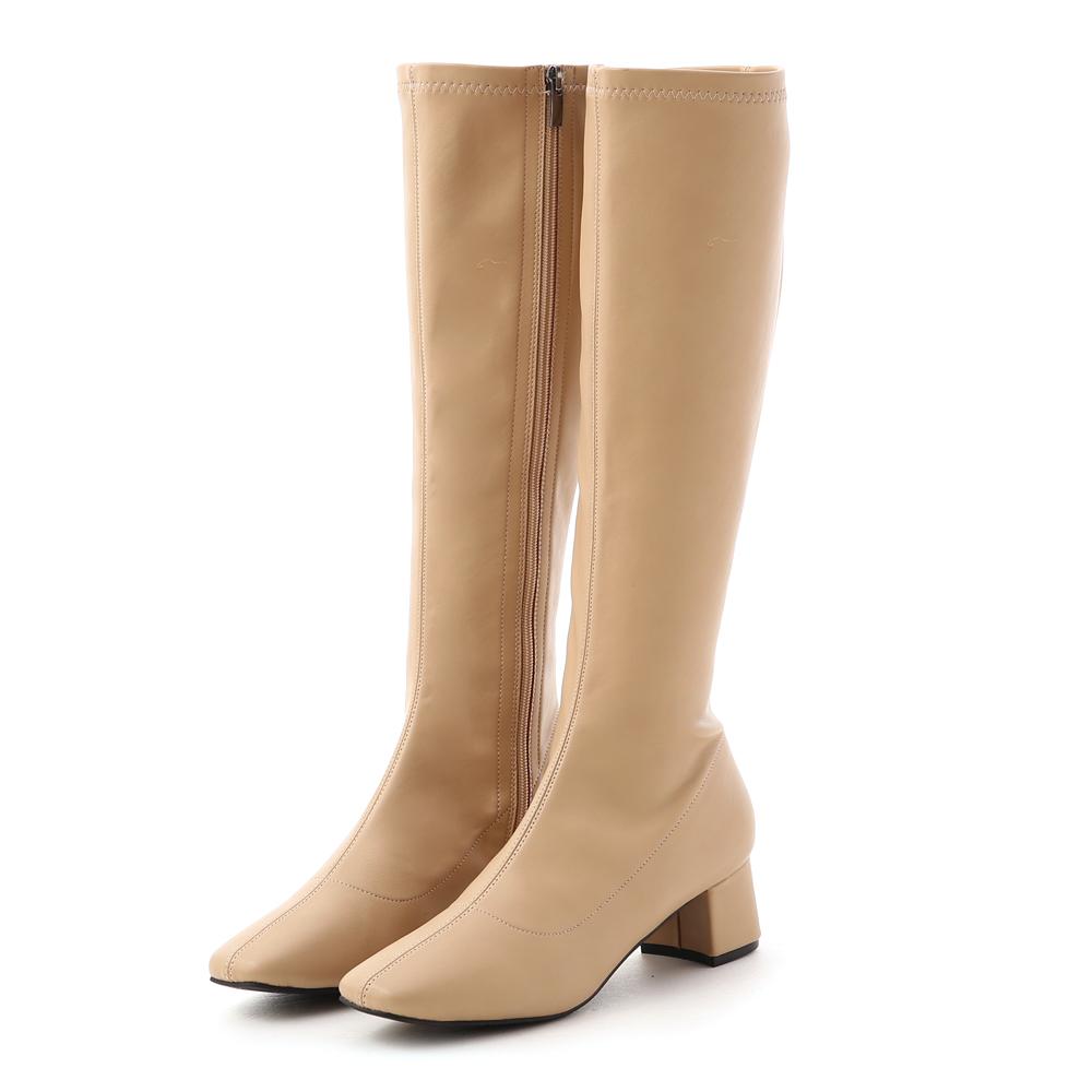 D+AF 冬日女神.素面中車線合腿長靴