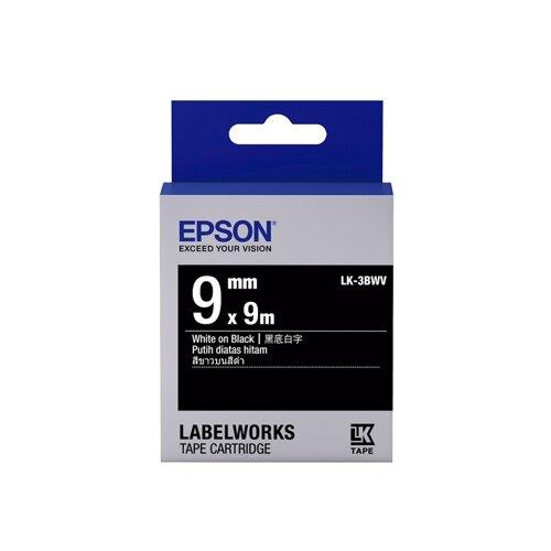 EPSON 黑底系列 9mmx9M 黑底白字標籤帶 / 盒 LK-3BWV
