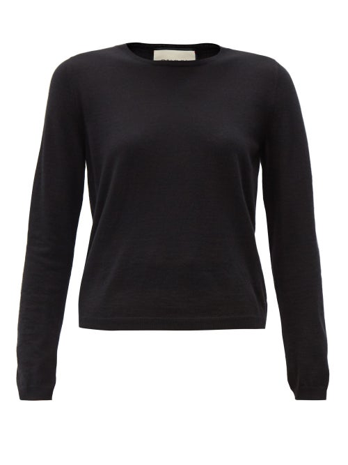 Gucci - Logo-embroidered Cashmere Sweater - Womens - Black