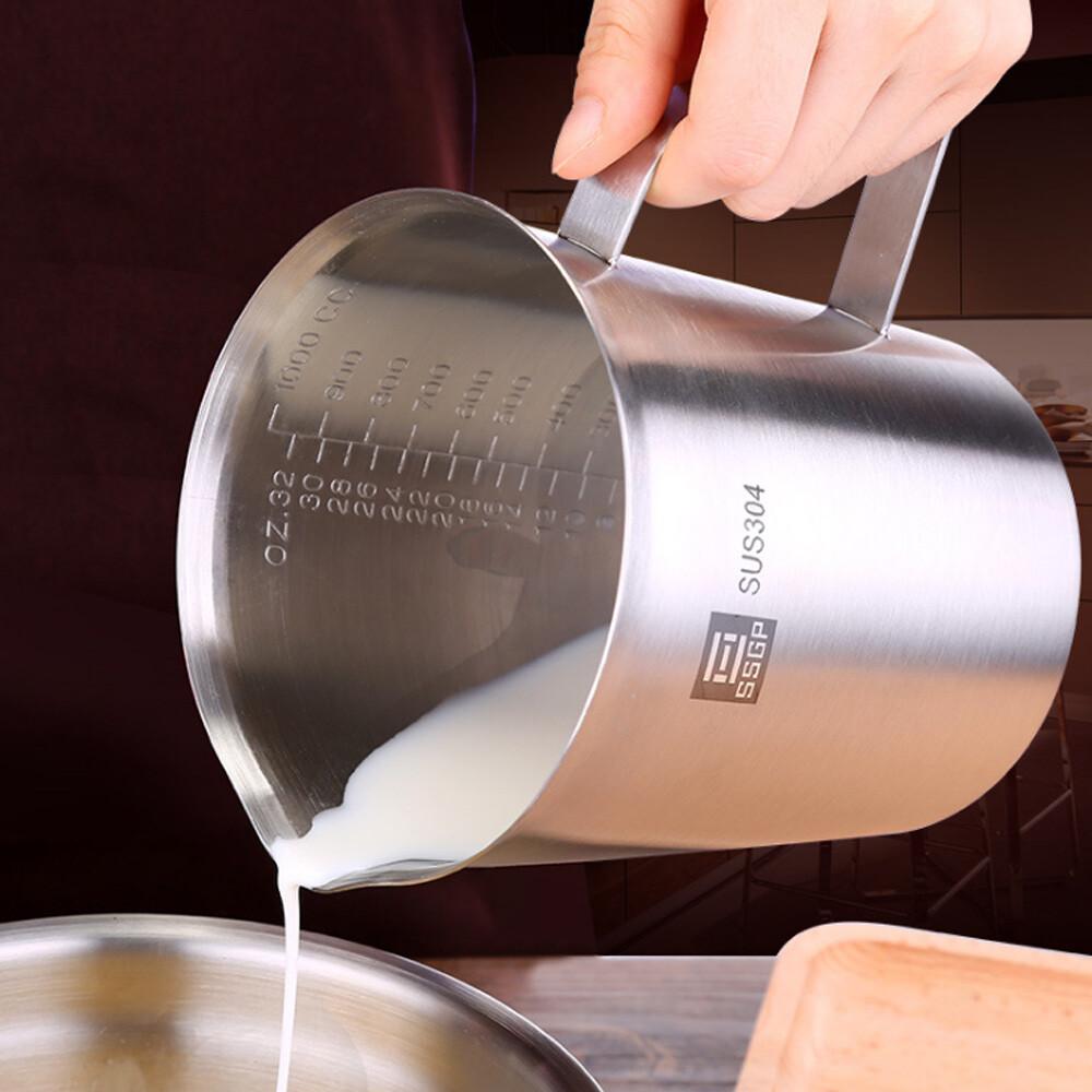 push!廚房用品帶刻度加厚304不銹鋼量杯廚房烘焙1000ml大容量計杯d229