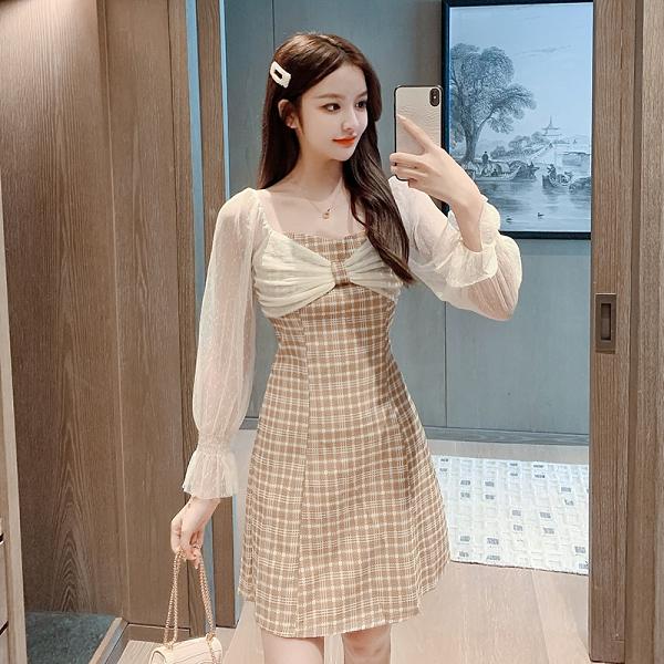 VK旗艦店 韓系網紗袖蝴蝶結拼接格紋素色優雅長袖洋裝