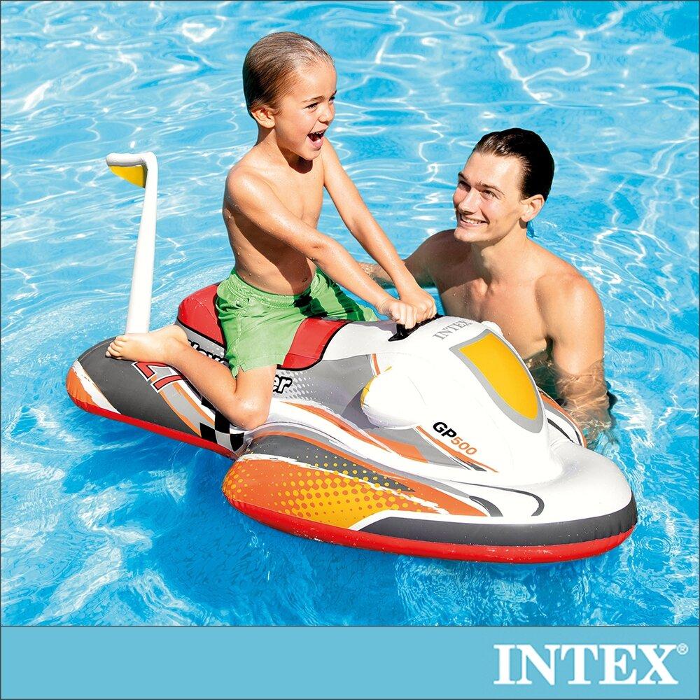 【INTEX】水上摩拖車造型充氣戲水玩具/浮排117x77cm 適3歲以上(57520)