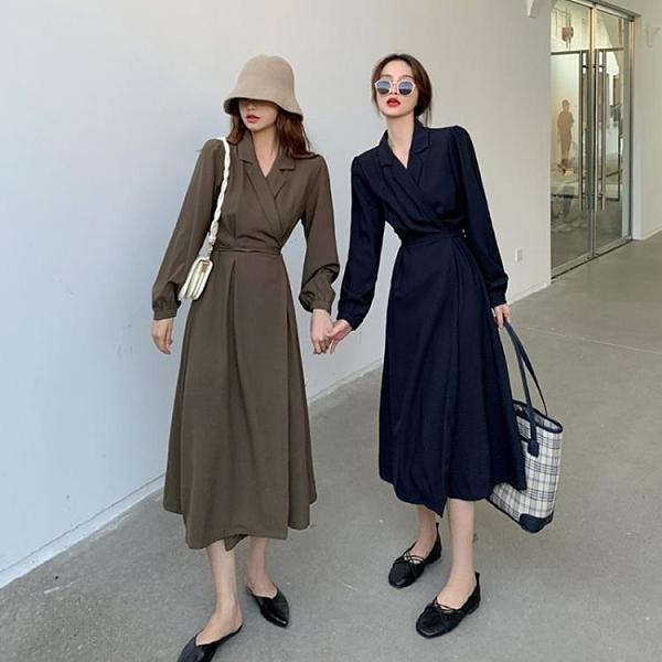 復古法式長袖連衣裙女秋裝新款西裝裙春秋顯瘦氣質炸街裙子
