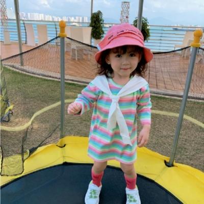 小衣衫童裝 女童可愛披肩造型彩色條紋長袖T裙1090913