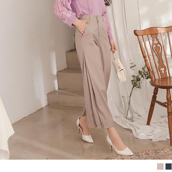 《BA5910》純色美型褲管打褶設計不易皺西裝長褲 OrangeBear