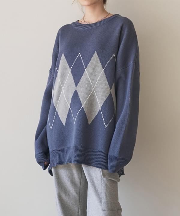 韓國空運 - Double argyle overfit knit 針織衫