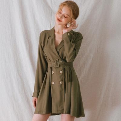 AIR SPACE LADY 雙排釦翻領長袖短洋裝(附腰帶)(綠)