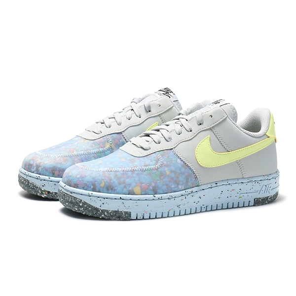 NIKE 休閒鞋 AIR FORCE 1 CRATER PLATINUM 灰藍黃 半透明 環保材質 男 (布魯克林) CZ1524-001