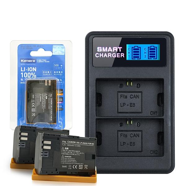 Kamera for Canon LP-E6 鋰電池*2顆+YHO 液晶雙槽充電器(Micro輸入,行動電源也能充)