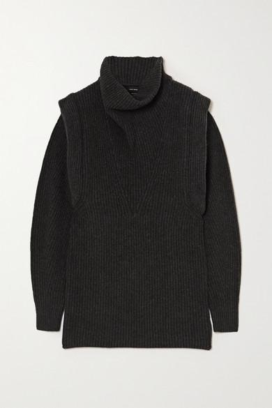 Isabel Marant - Prewitt 罗纹羊绒羊毛混纺高领迷你连衣裙 - 煤灰色 - FR42