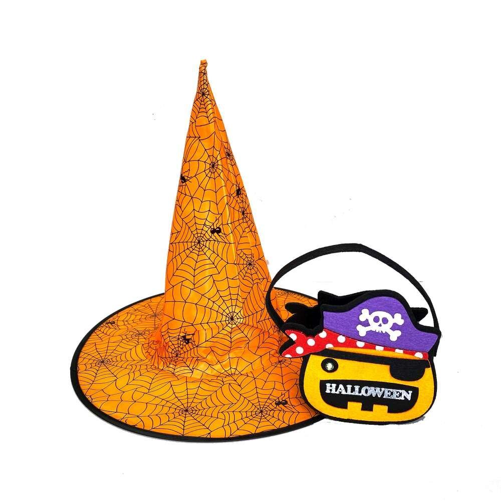 摩達客★萬聖派對變裝★橘色蜘蛛網尖頂巫師帽巫婆帽+海盜糖果小提袋 1+1組合
