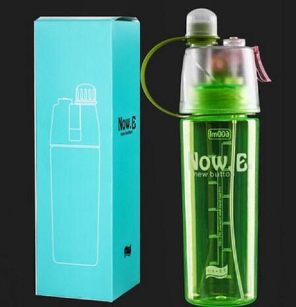 噴霧水杯抗摔耐熱補水降溫便攜運動戶外塑膠水壺夏季學生軍訓杯子