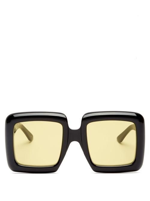 Gucci - Oversized Square Acetate Sunglasses - Womens - Black Yellow