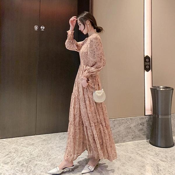洋裝 碎花淑女長裙5469輕熟風連身裙拖地裙禮服裙