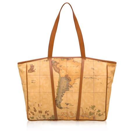 Alviero Martini 義大利地圖包 梯形購物手提肩背包(大)-地圖黃