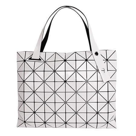 ISSEY MIYAKE BAOBAO幾何方格8x10拉鍊托特包(白色)亮面