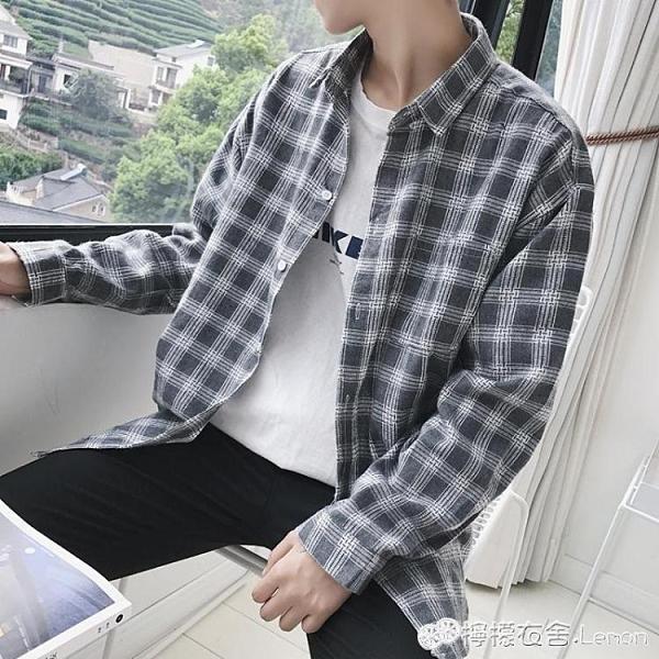 新款春秋季格子襯衫男士長袖襯衣薄款外套韓版潮流寬鬆帥氣