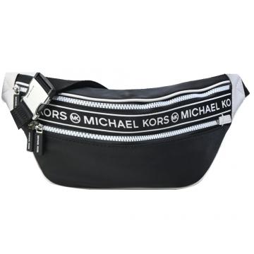 MICHAEL KORS KENLY尼龍橫槓雙拉鍊腰包-黑