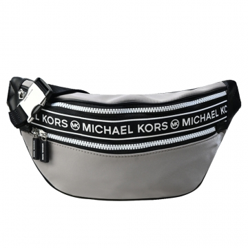 MICHAEL KORS KENLY尼龍橫槓雙拉鍊腰包-珍珠灰