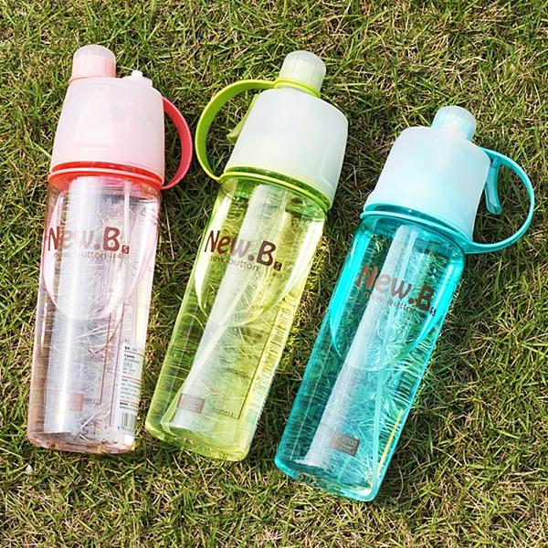 金德恩 創意新款 600ml運動噴霧杯 補水降溫兩用水瓶