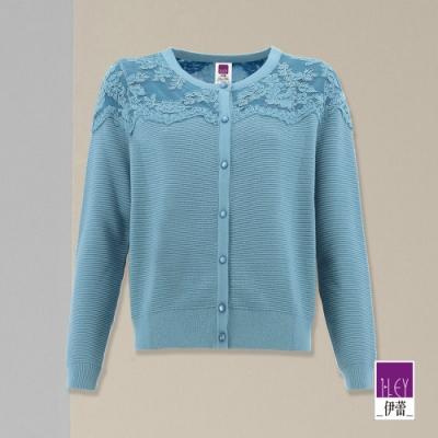 ILEY伊蕾 高雅蕾絲拼接坑條針織外套(白/藍)