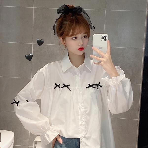 促銷全場九五折 大碼女裝微胖mm襯衫早秋新款設計感蝴蝶結寬松polo領長袖外套