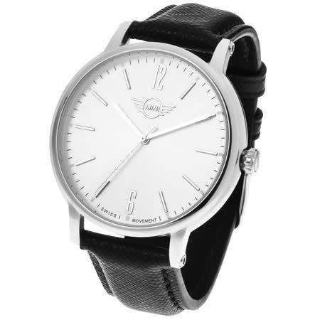 【MINI Swiss Watches 】石英錶 43.5mm 白錶面 黑色皮錶帶