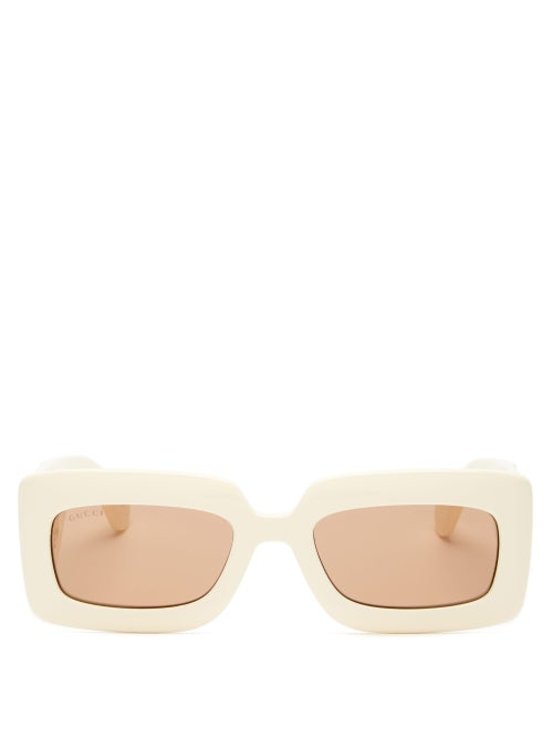 Gucci - GG-logo Quilted Rectangular Acetate Sunglasses - Womens - Ivory