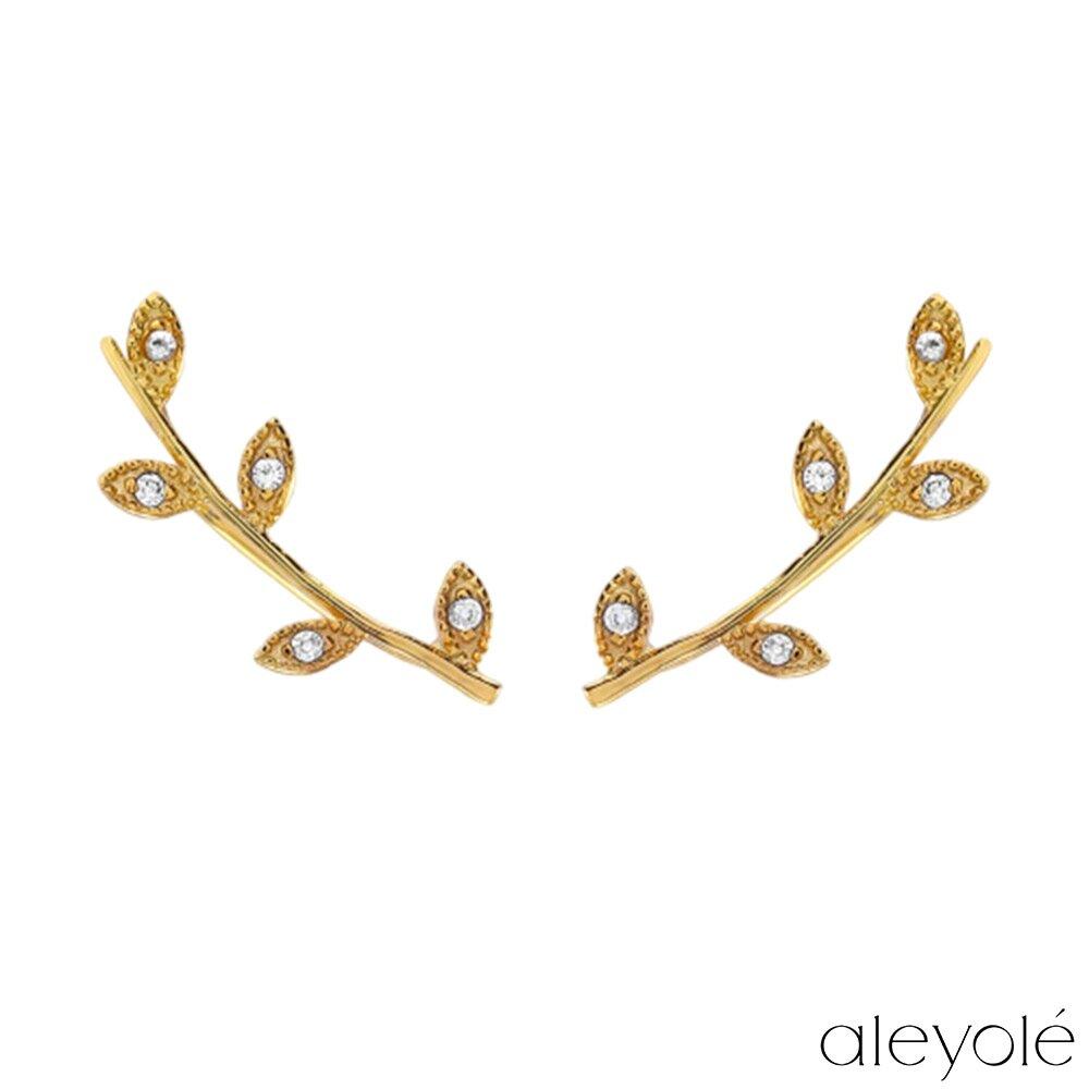 Aleyolé 西班牙時尚 Boheme 月桂枝枒鍍18K金攀耳式耳環